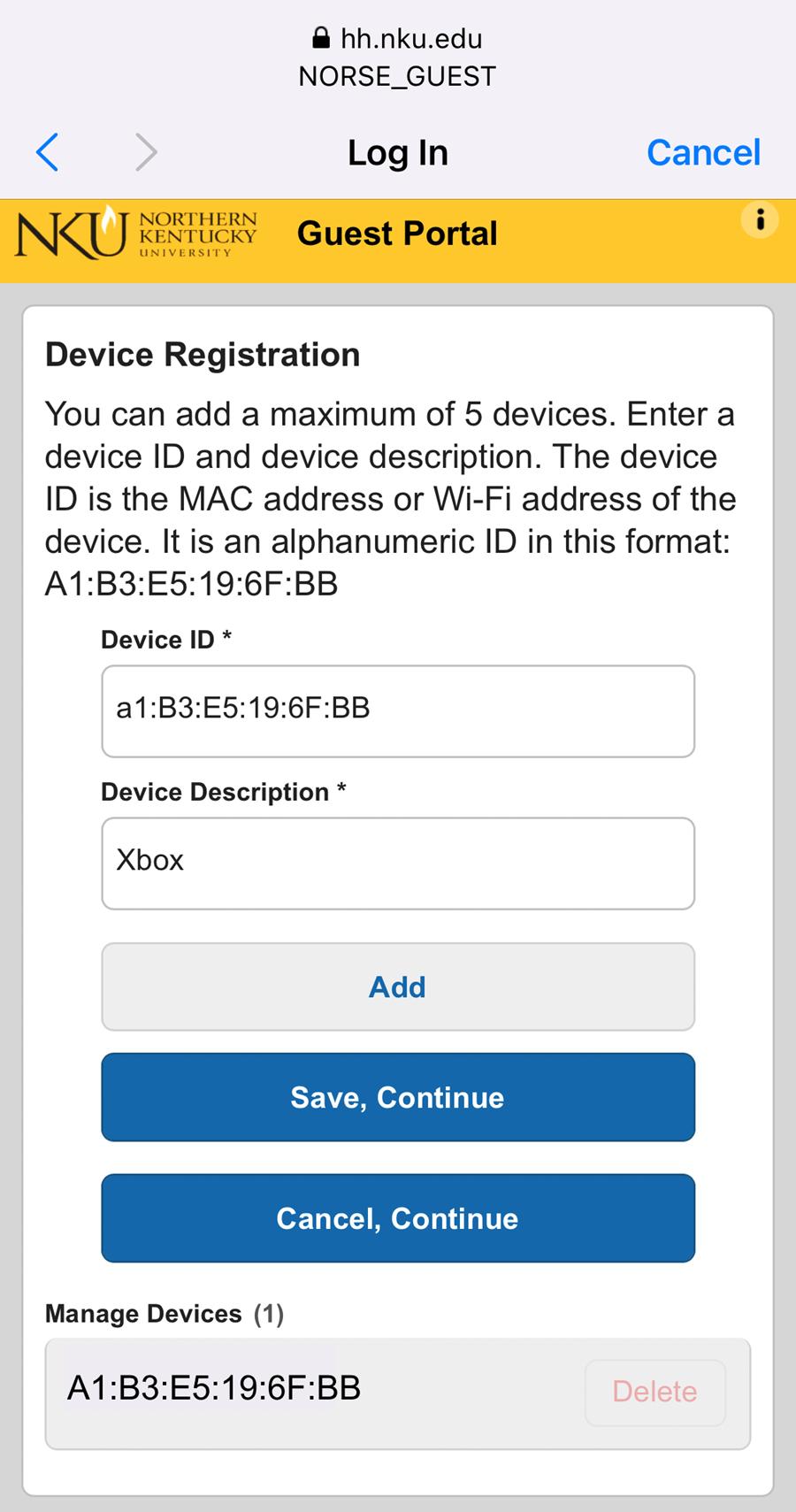 An iPhone screenshot showing NKU's NetReg device registration page.