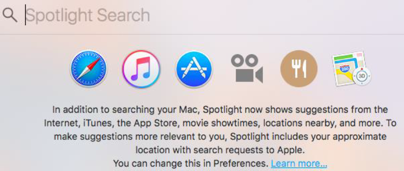 Spotlight Search on a Mac.
