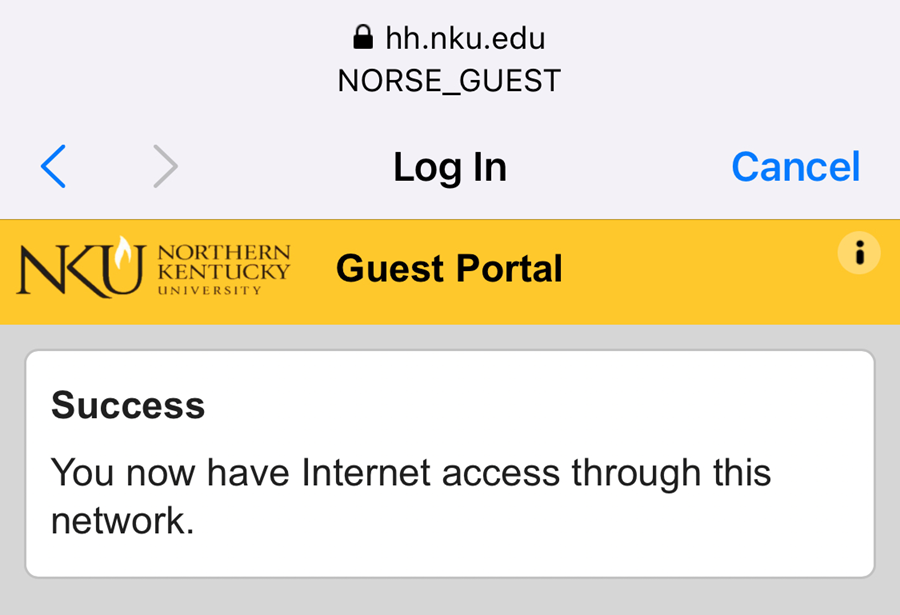 An iPhone screenshot showing NKU's NetReg connection confirmation page.