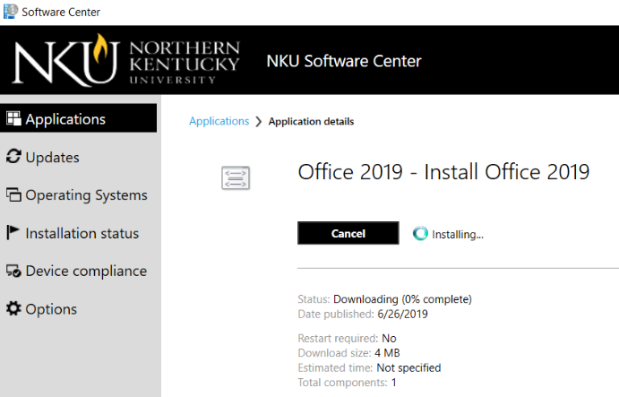 The Software Center application in Windows, showing a download of Microsoft Office.