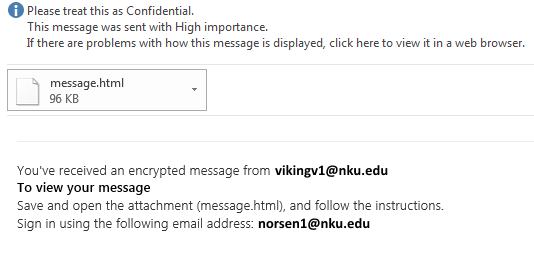 An encrypted email message.