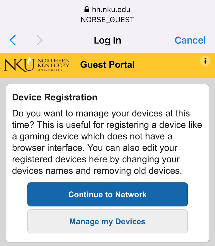 An iPhone screenshot showing NKU's NetReg.  The user is asked if they want to manage devices.