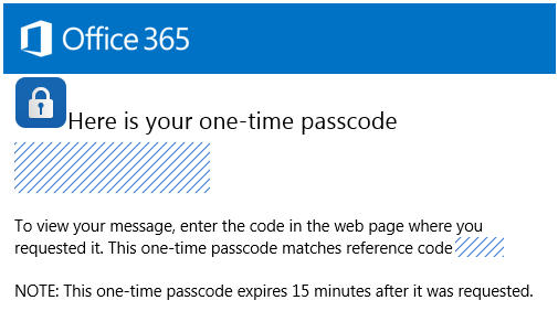 An Office 365 dialog box containing a one-time passcode.