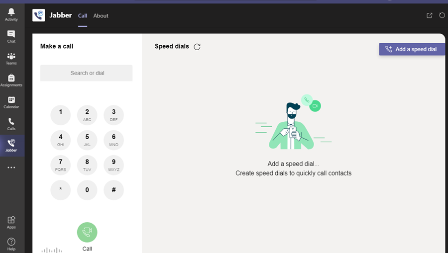 The Jabber app in Microsoft Teams.