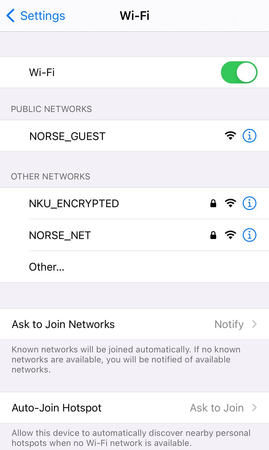 An iPhone screenshot showing NKU's wi-fi networks.