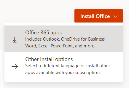 The Install Office button on Office 365.