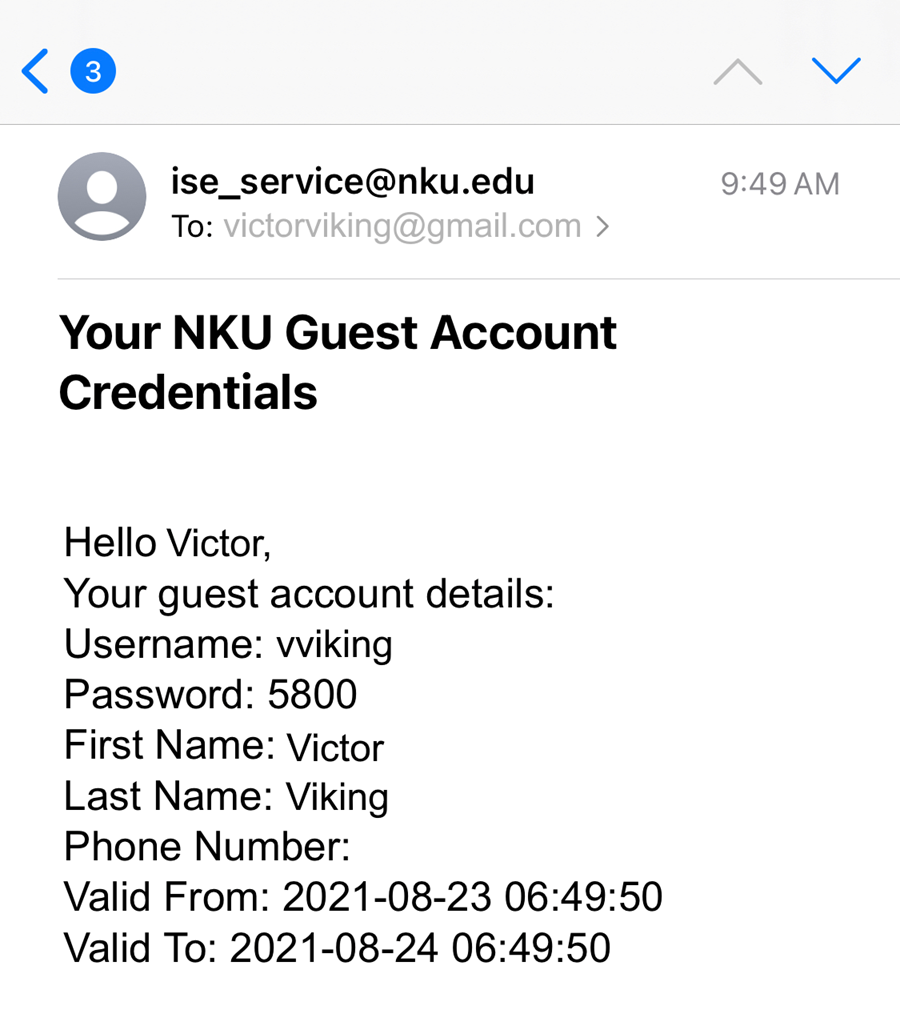 An iPhone screenshot showing an email from NKU containing wi-fi guest account information.