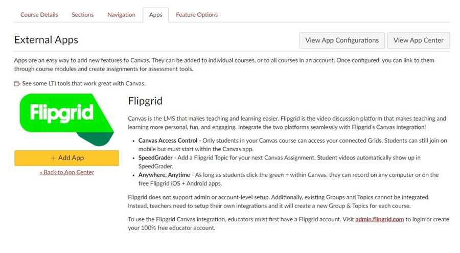 Search for Flipgrid in the Apps tab in Canvas and then Click on Add App