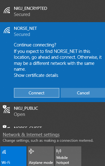 A screenshot showing NKU's wi-fi networks, with NORSE_NET selected, and a message prompting the user if they wish to continue connecting.