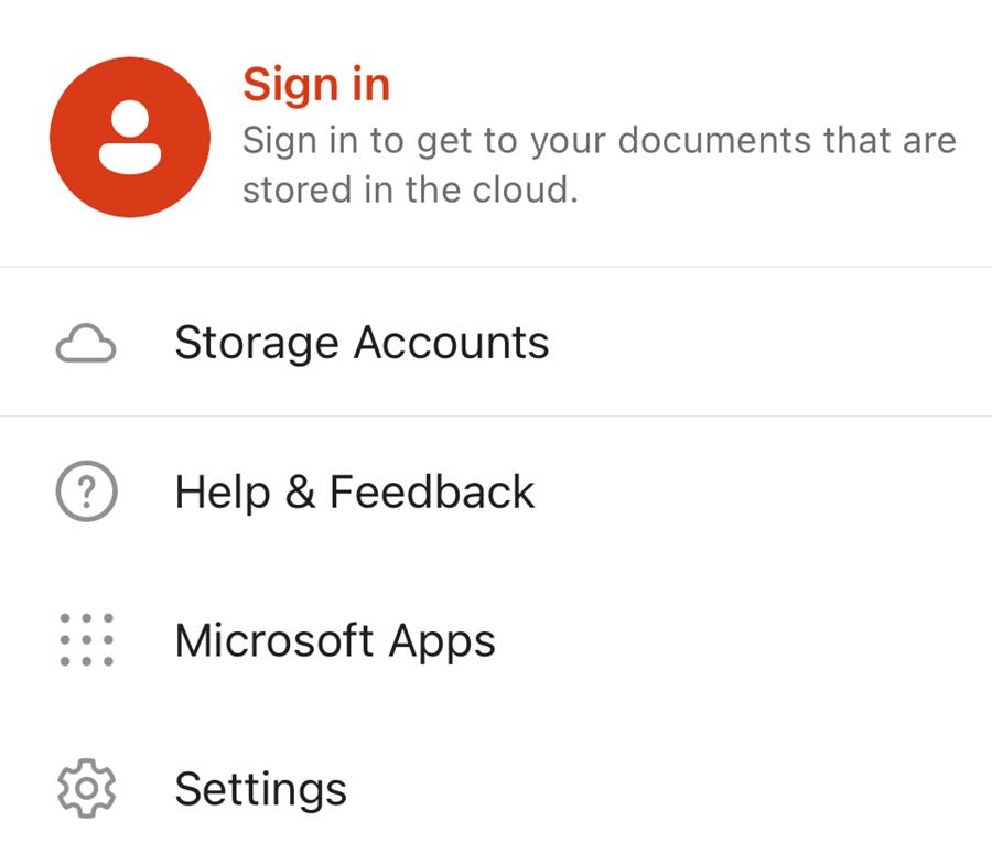 Microsoft Office mobile app menu screenshot.
