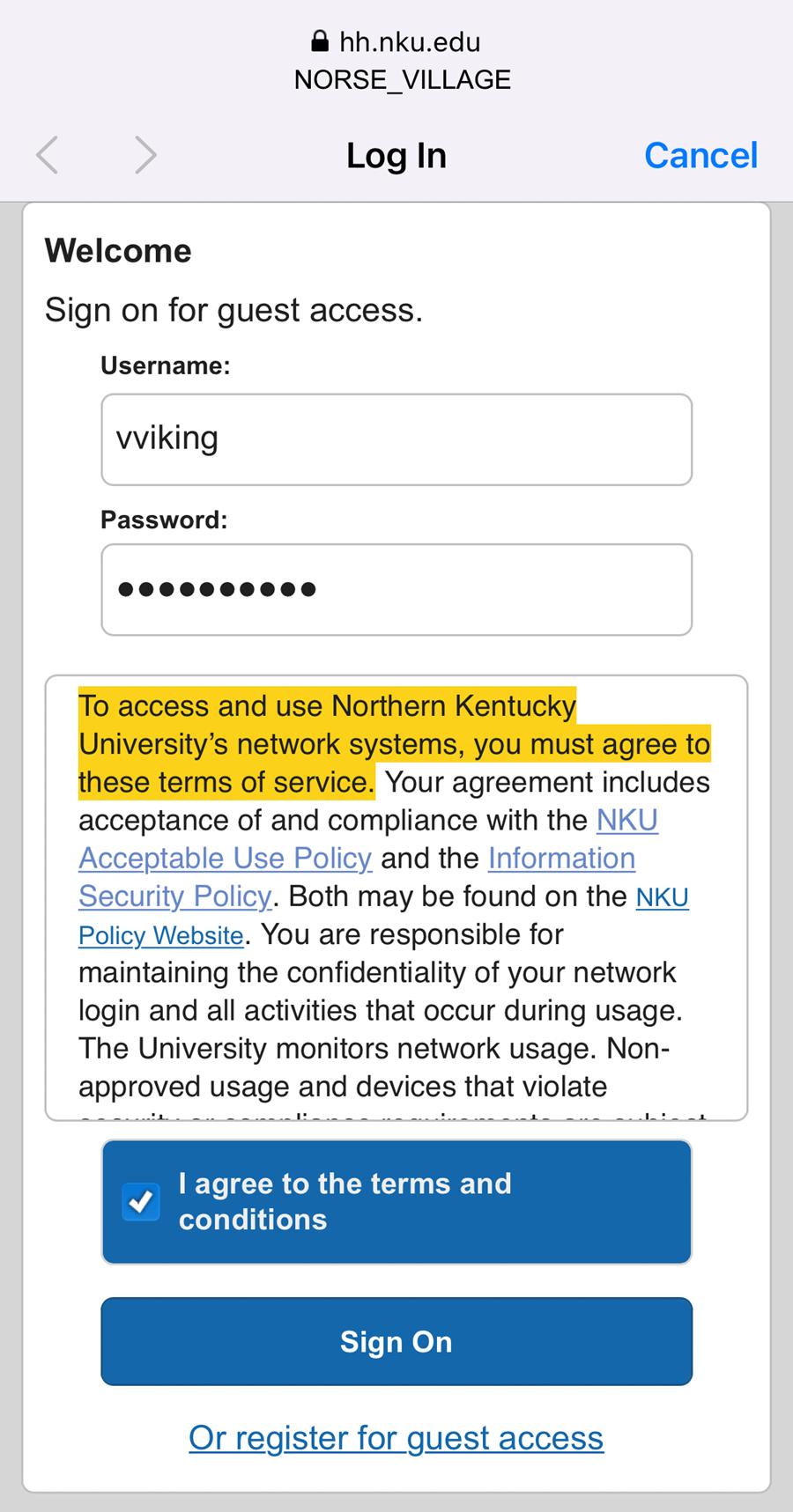 An iPhone screenshot showing NKU's NetReg login page.