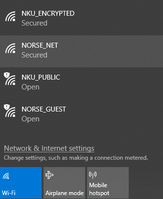 A screenshot showing NKU's wi-fi networks, with NORSE_NET selected.