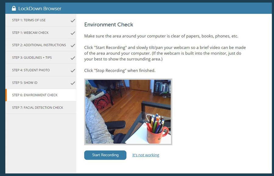 A screnshot showing lockdown browser and the various steps of the set up, including the terms of use, webcam check, additional instructions, guidelines and tips, student photo, show ID, environment check and the facial detection check.
