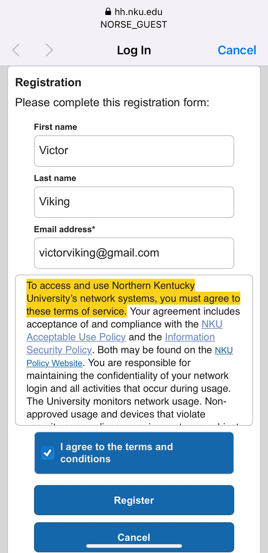 An iPhone screenshot showing NKU's NetReg registration page.
