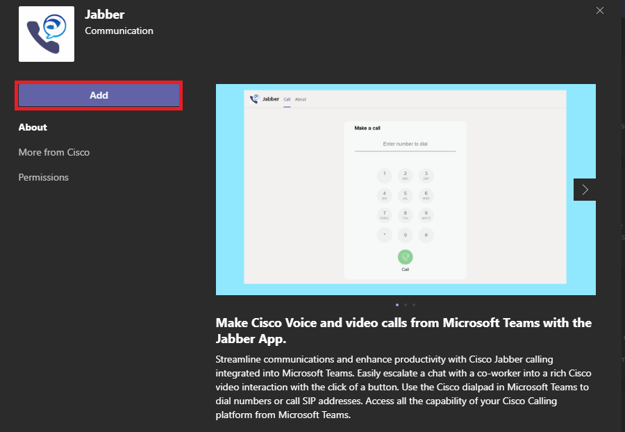 The Jabber app download page in Microsoft Teams.