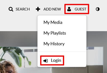 Highlighted screenshot of navigation to log in to video.nku.edu