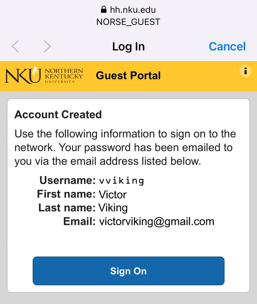 An iPhone screenshot showing NKU's NetReg account creation page.