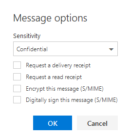 Outlook Message options dialog box