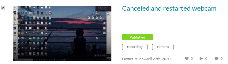 Displaying a selected video with a checkmark