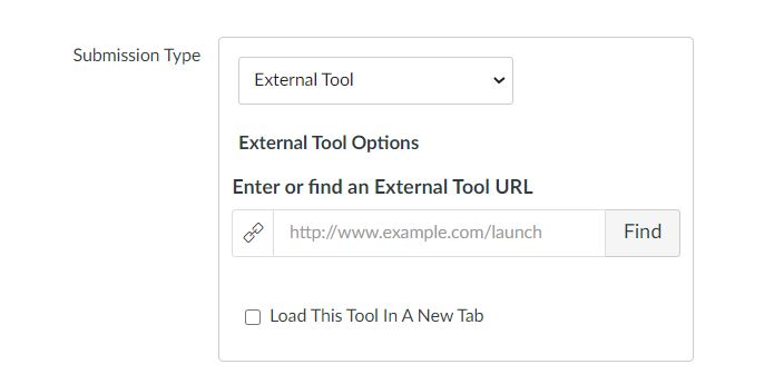 Use the submission type: External Tool